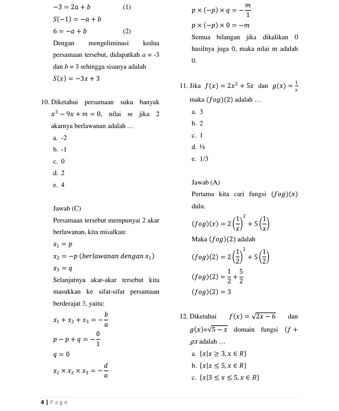 Kunci Jawaban Matematika Kelas 11 Semester 2 Kurikulum 2013 Ilmusosial Id